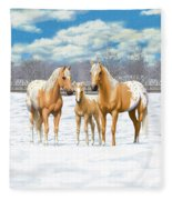 Palomino Appaloosa Horses In Winter Fleece Blanket