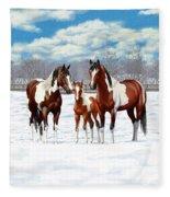 Bay Paint Horses In Winter Fleece Blanket