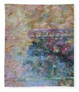 Birds Boaters And Bridges Of Barton Springs - Autumn Colors Pedestrian Bridge Fleece Blanket