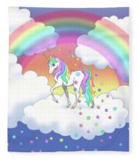 Rainbow Unicorn Clouds And Stars Fleece Blanket