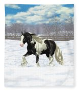 Black Pinto Gypsy Vanner In Snow Fleece Blanket