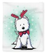 Kiniart Westie Reindeer Fleece Blanket