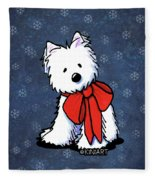 Kiniart Westie In Red Bow Fleece Blanket