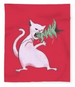 Funny White Cat Eats Christmas Tree Fleece Blanket