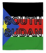 Flag Of  South Sudan Word Fleece Blanket