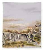 Totem Wolf Sunset Fleece Blanket