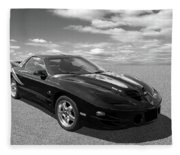 Pontiac Trans Am Ram Air In Black And White Fleece Blanket