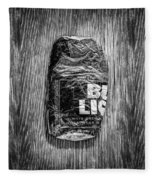 Crushed Blue Beer Can On Plywood 78 In Bw Fleece Blanket
