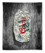 Crushed Light Silver Beer Can On Bw Plywood 79 Fleece Blanket