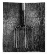 Ensilage Fork Up On Plywood In Bw 66 Fleece Blanket