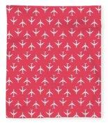 747 Jumbo Jet Airliner Aircraft - Crimson Fleece Blanket