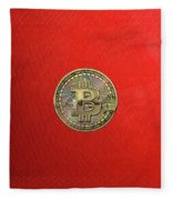 Gold Bitcoin Effigy Over Red Canvas Fleece Blanket