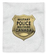 Canadian Forces Military Police C F M P  -  M P Officer Id Badge Over White Leather Fleece Blanket