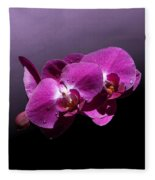 Pink Orchid Flowers Fleece Blanket