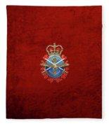 Canadian Armed Forces  -  C A F  Badge Over Red Velvet Fleece Blanket