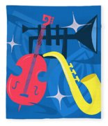 Jazz Composition With Bass, Saxophone And Trumpet Fleece Blanket