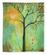 Hello Sunshine Tree Birds Sun Art Print Fleece Blanket
