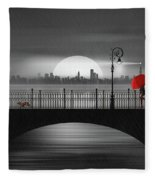 Summer Rain At The Bridge Fleece Blanket