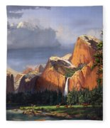 Deer Meadow Mountains Western Stream Deer Waterfall Landscape Oil Painting Stormy Sky Snow Scene Fleece Blanket