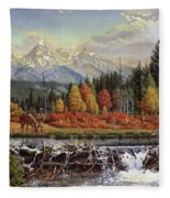 Western Mountain Landscape Autumn Mountain Man Trapper Beaver Dam Frontier Americana Oil Painting Fleece Blanket