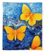 Butterfly In Blue 1 Fleece Blanket