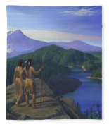 Native American Indian Maiden And Warrior Watching Bear Western Mountain Landscape Fleece Blanket