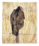Portrait Of A Vulture Fleece Blanket