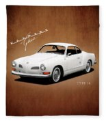 Vw Karmann Ghia Fleece Blanket by Mark Rogan