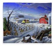 Folk Art Winter Landscape Fleece Blanket