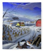 Folk Art Winter Landscape Fleece Blanket