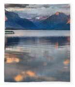 As The Day Ends At West Glacier Fleece Blanket