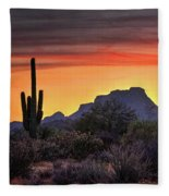 As The Sun Sets On Red Mountain  Fleece Blanket