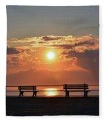 Asbury Park Boardwalk Sunrise Fleece Blanket