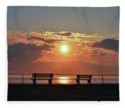 Asbury Park On The Boardwalk At Sunrise Fleece Blanket