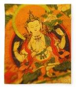 Asian Art Textile Fleece Blanket