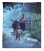 Asian Boy Playing Water With Dad And Buffalo Fleece Blanket