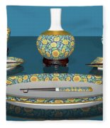 Asian Dining And Vases Fleece Blanket