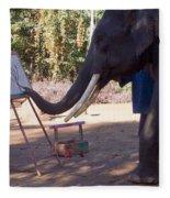 Asian Elephant Painting Picture Fleece Blanket
