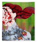 Asian Flower Woman Red Fleece Blanket