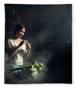 Asian People With Cooking, Living In Rural Countryside, Rural Th Fleece Blanket