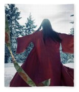 Asian Woman In Red Kimono Dancing In The Snow Spinning Around To Fleece Blanket