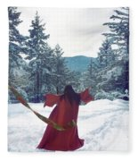 Asian Woman In Red Kimono Dancing On The Snow In The Forest Fleece Blanket