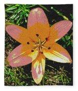 Asiatic Lily With Sandstone Texture Fleece Blanket