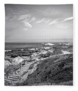 Asilomar Beach Stairway In Black And White Fleece Blanket