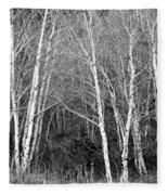 Aspen Forest Black And White Print Fleece Blanket