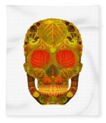 Aspen Leaf Skull 12 Fleece Blanket