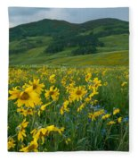 Aspen Sunflower And Mountain Landscape Fleece Blanket