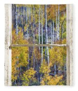 Aspen Tree Magic Cottonwood Pass White Farm House Window Art Fleece Blanket