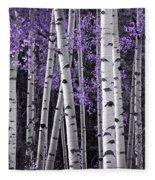 Aspen Trunks Lavender Leaves Fleece Blanket