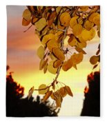Aspens At Sunset Fleece Blanket